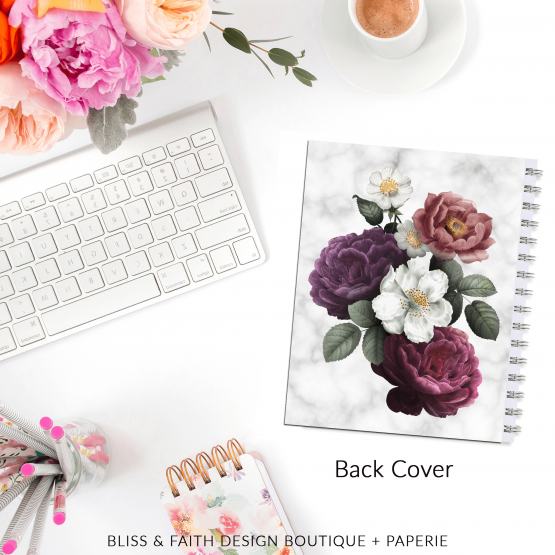 Marble Floral II Planner Cover   BlissandFaith.com