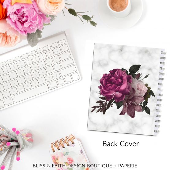 Marble Floral I Planner Cover | BlissandFaith.com