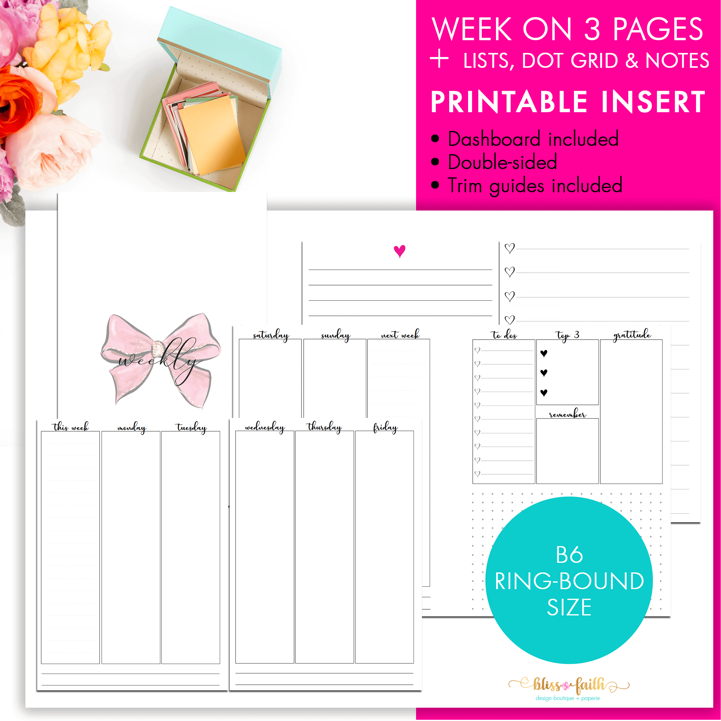 picture relating to Printable Planner Inserts identified as B6 Rings Planner Incorporate Vertical 7 days Upon 3 Web pages + Lists Printable