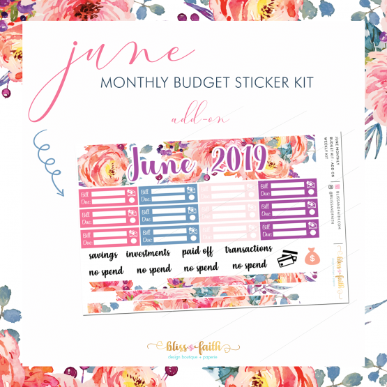 June Monthly Budget Sticker Kit Add On | BlissandFaith.com