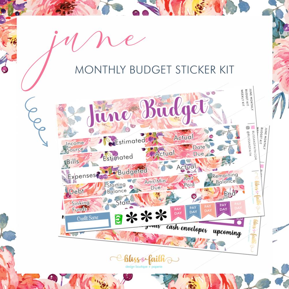 June Monthly Budget Sticker Kit | BlissandFaith.com