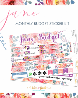 June Monthly Budget Sticker Kit | BlissandFaith.com
