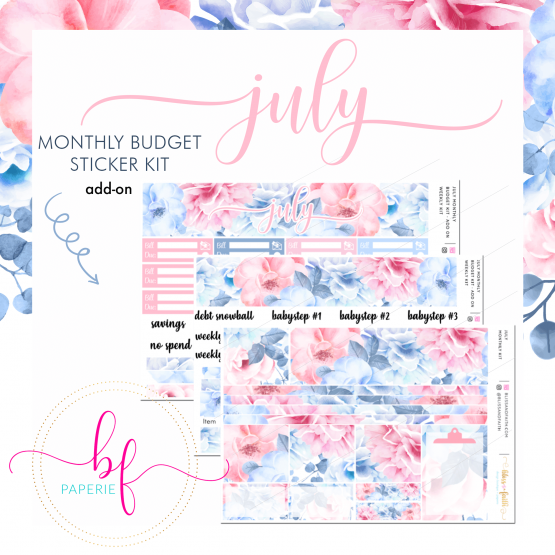 July Monthly Budget Sticker Kit Add On | BlissandFaith.com