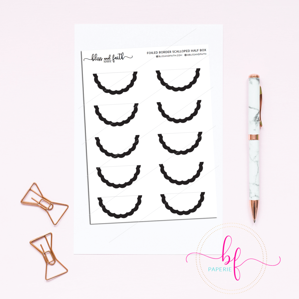 Scalloped Edged Stickers Foiled Border Half Box | BlissandFaith.com