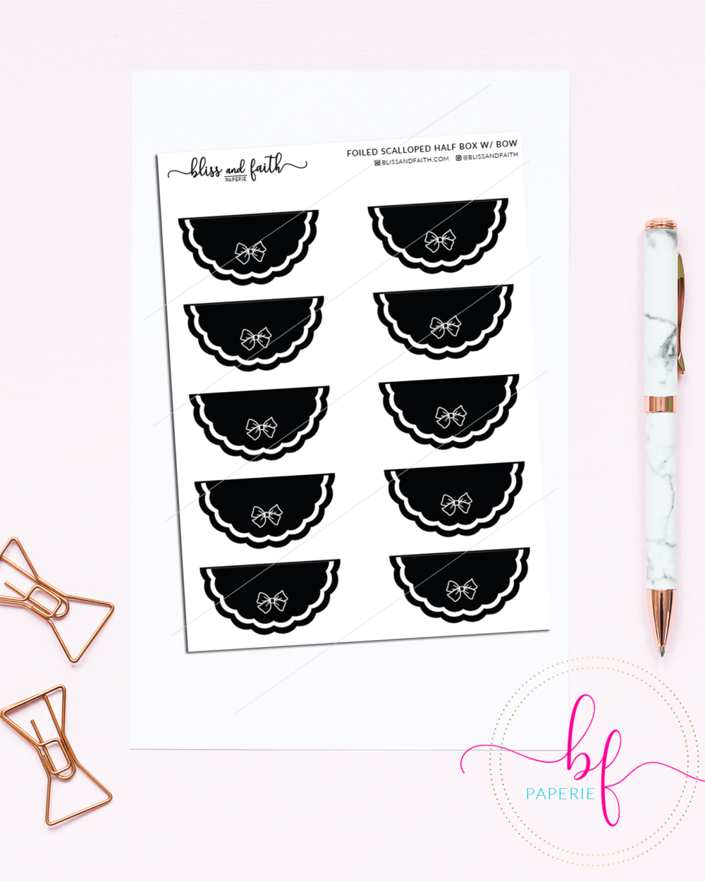 Scalloped Edged Stickers Foiled Half Box | BlissandFaith.com