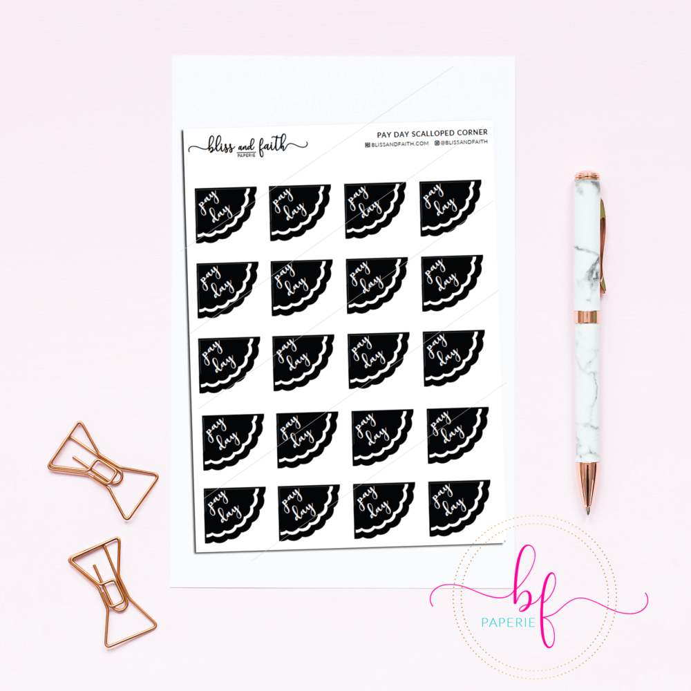 Scalloped Edged Stickers Foiled Pay Day Stickers | BlissandFaith.com