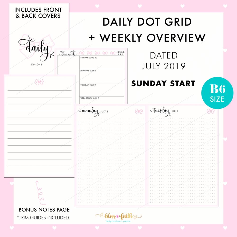 Dated Daily Dot Grid Printable | BlissandFaith.com