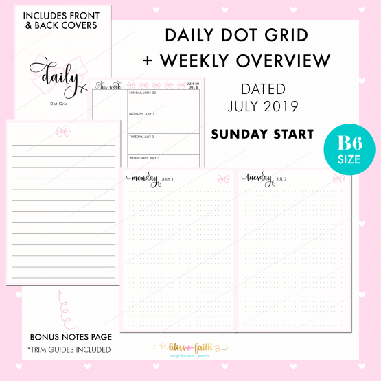 Dated Daily Dot Grid Printable | BlissandFaith.com